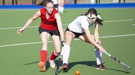 Caz Osborne doing battle for St Neots Ladies 1sts during their victory against Cambridge University