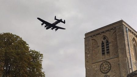 A Lancaster bomber from Coningsby flew over the Meldreth Car Show. Picture: John Price