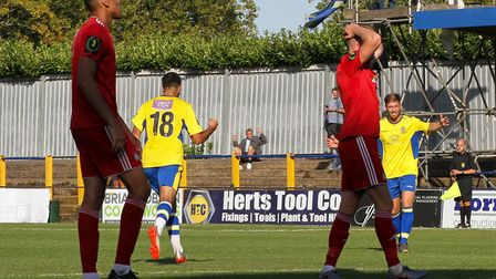 St Albans City celebrate Andronicos Georgiou's goal against Worthing in the FA Cup. Picture: JIM STA