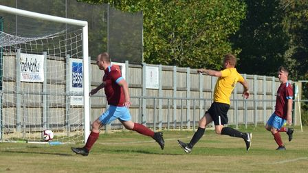 Action from table-topping Eaton Socon Reserves' win against Great Chishill in Kershaw Senior B Divis