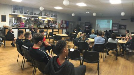 RTFC U18s and younger players listening to the presentation. Picture: Lorna Webb