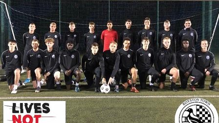 Royston Town FC's under 18s are also backing the Lives Not Knives campaign. Picture: Dan Evans