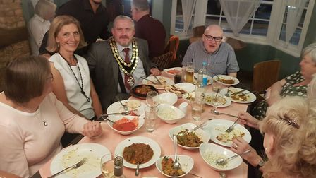 Royston town mayor Councillor Robert Inwood attended Yuva's charity dinner in aid of St John the Bap