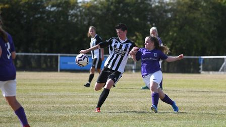 Sheree Oliver in action for Colney Heath Ladies against Royston Town in the Women's FA Cup. Picture: