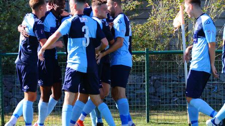 St Neots Town players celebrate their early opening goal from Prince Mutswunguma. Picture: DAVID R.
