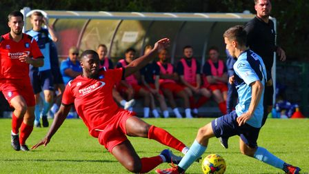 Action from St Neots Town's heavy defeat at the hands of leaders AFC Dunstable. Picture: DAVID R. W.