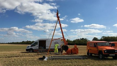 The first drilling rig being set up as Highways England undertakes a series of complex ground invest