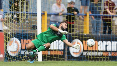 St Albans City's Dean Snedker was denied what would have been a deserved clean sheet after a late Wo
