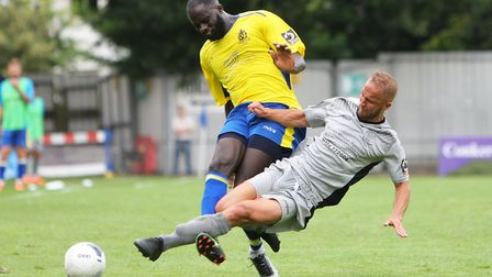 St Albans City's Dave Diedhiou started and starred in the FA Cup replay win at Worthing. Picture: KA