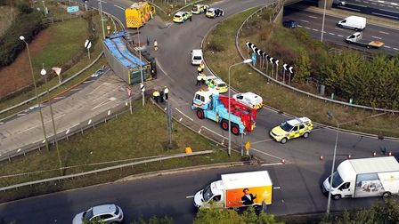 A lorry containing chickens overturned in a crash on the A405 North Orbital Road, near Junction 21A