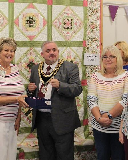 Royston mayor, Councillor Robert Inwood, attended the Priory Quilters exhibition. Picture: Priory Qu