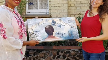 Royston artist Stacey Leigh with her work interpreting the life of Roger Britten, and Royston & Dist
