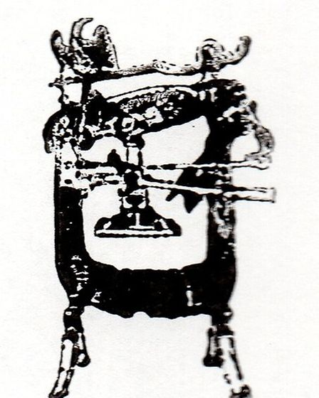 An impression of a Columbian press like the one in the museum that Roger used in the original Roysto