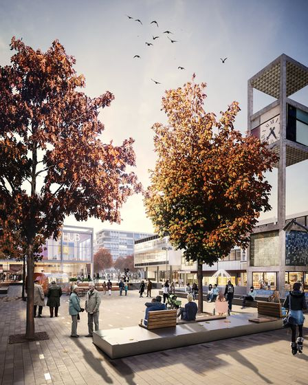 A comupter generated image of Stevenage's new town square. Picture: PRP Architects