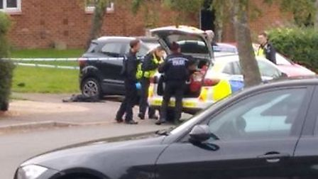 Herts police at the scene of the Colney Heath kidnap incident shortly after it was reported. Supplie