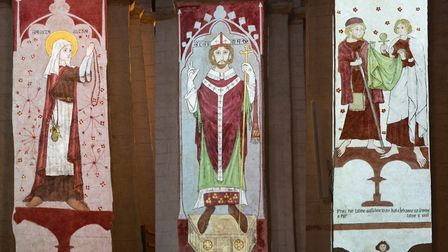 The medieval wall paintings recreated at St Albans Cathedral. Picture: Arun Kataria