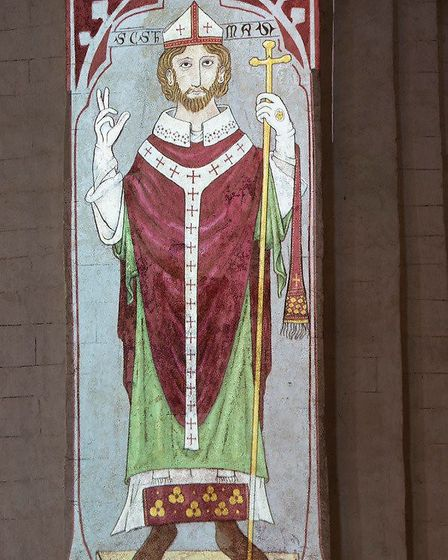 The medieval wall painting of St Thomas recreated at St Albans Cathedral. Picture: Arun Kataria