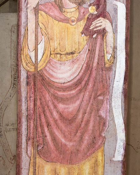 The medieval wall painting of St Christopher recreated at St Albans Cathedral. Picture: Arun Kataria
