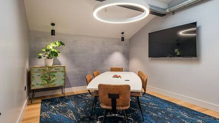 The private meeting room at BubbleHUB can accommodate six-eight people comfortably. Picture: Frankli