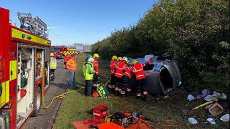 The collision took place on the A1(M) at Alconbury. Picture: CFRS