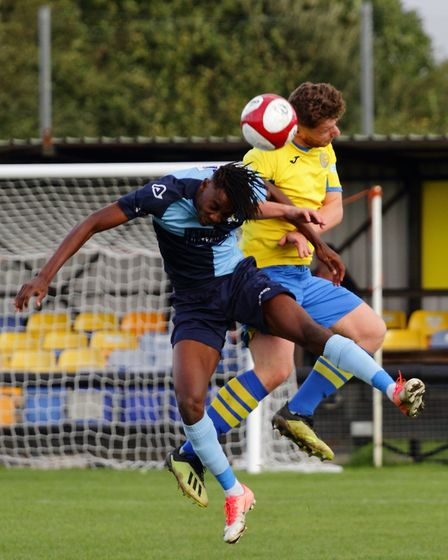 Prince Mutswunguma does battle for St Neots Town in their FA Trophy exit at Carlton Town. Picture: D