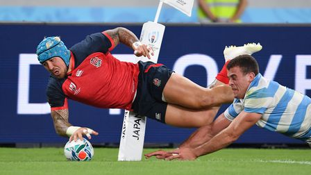 England's Jack Nowell scores his sides fifth try during the 2019 Rugby World Cup Pool C match at Tok