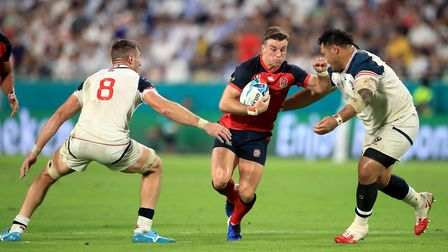 England's George Ford (centre) in action during the 2019 Rugby World Cup match at the Kobe Misaki St