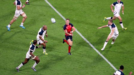 England's Owen Farrell in action during the 2019 Rugby World Cup match at the Kobe Misaki Stadium, J