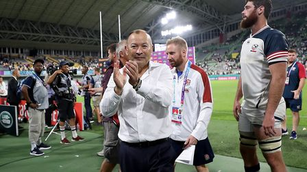 England's head coach Eddie Jones celebrates after the final whistle during the 2019 Rugby World Cup