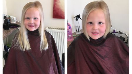 Miley Jackson-Nightingale, 5, had her hair shaved for charity. Picture: CONTRIBUTED
