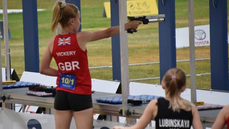 Raissa Vickery in action for GB at the Laser Run Championships in Budapest.