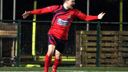 Ben Bradley celebrates the goal that put St Neots Town ahead in their Southern League Challenge Cup
