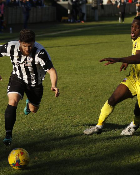 Aaron Phillips produced a goal-line clearance to help St Ives Town beat Nuneaton Borough. Picture: L