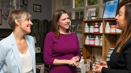 Leader of the Liberal Democrats Jo Swinson (centre) and St Albans Liberal Democrats parliamentary s