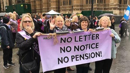 Heather Cook and WASPIE campaigners in London for the decision
