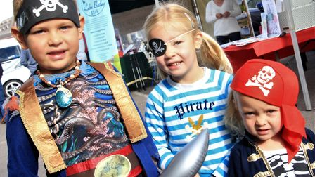Max, Ophelia and Ariella Alford at Royston pirate Day 2019. Picture: Clive Porter