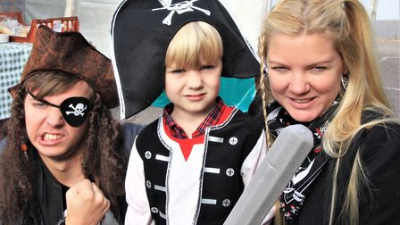 Jack, Jamie, and Sarah Wilson at Royston pirate Day 2019. Picture: Clive Porter
