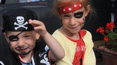 Oscar, aged 2, and Lilah Seedburgh, 7, at Royston Pirate Day 2019. Picture: Clive Porter