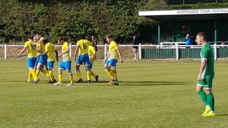 Harpenden celebrate their early goal against Leverstock Green.