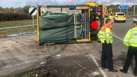 The chickens have been moved and the lorry has been righted following the M25 crash near St Albans.