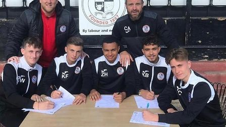 St Ives Town youngsters, from the left, Tom Wakley, Karl Frans, Zac Hope, Kai Bradley and Joe Cobb,