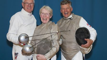 Huntingdonshire Fencing Club members, from the left, Andrew Brown, Silvia Brown and Richard Sage, ar