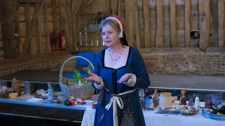 Brigitte Webster talks about medieval cooking at the Medieval Daze festival at St Michael's Church,