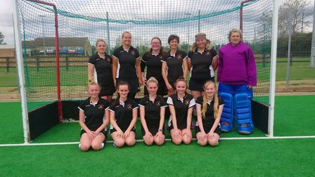 The Huntingdon 2nds team are back row, left to right, Zoe Skinner, Hannah Curtis, Ruth Trolove, Lucy