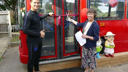 The Heathlands School community hub bus was opened by Mayor of St Albans Janet Smith and England Dea