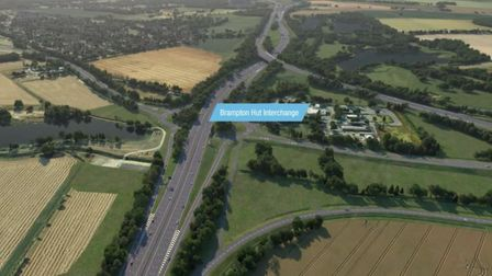 A 12-mile section of the A14 in Huntingdon will open in December