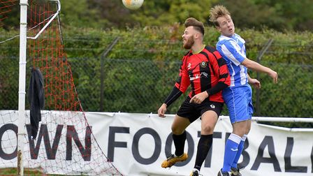 Josh Rosser scored for Huntingdon Town in their defeat at the hands of Frenford in the FA Vase. Pict