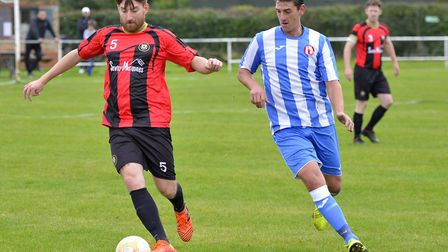 Huntingdon Town defender Scott Taylor on the ball against Frenford in the FA Vase. Picture: DUNCAN L