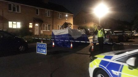 A forensic tent and police tape were in place at the scene. Picture: ARCHANT