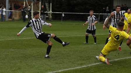 Dylan Wilson missed a great chance for St Ives Town in their loss to Peterborough Sports. Picture: L